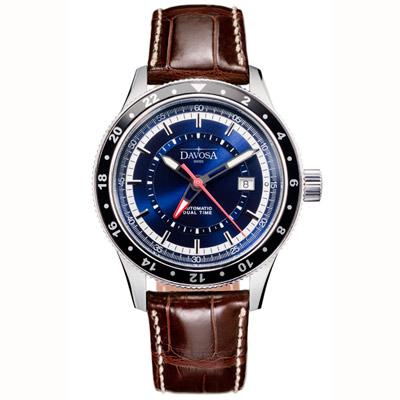 DAVOSA World Traveller 系列 GMT 機械腕錶-藍/44mm