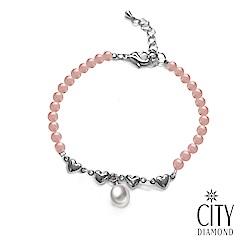 City Diamond引雅 【手作設計系列 】天然水滴珍珠粉紅水晶愛心手鍊