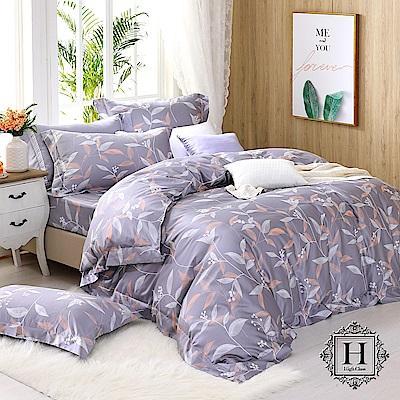 HOYA H Series費加洛 特大四件式頂級500織刺繡匹馬棉被套床包組-配加大被套