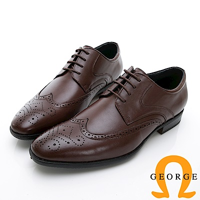 GEORGE 喬治-時尚職人系列 雕花綁帶牛津鞋紳士鞋 皮鞋 男鞋-咖