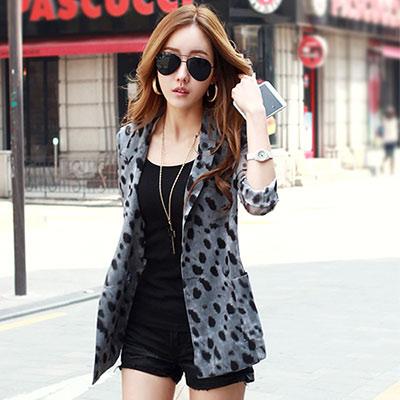 正韓 時尚感豹紋長版西裝外套 (共二色)-N.C21