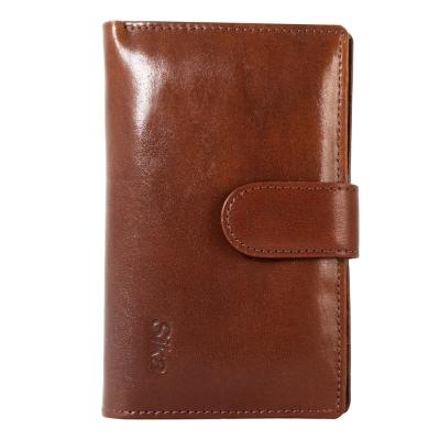 Sika義大利時尚真皮壓扣中夾A8207-02深咖啡