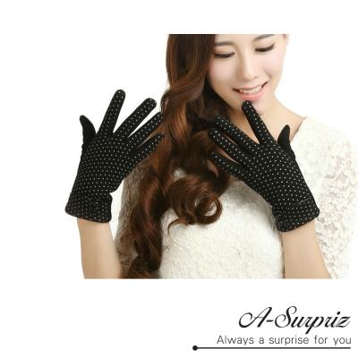 A-Surpriz-點點精梳棉觸控手套-黑