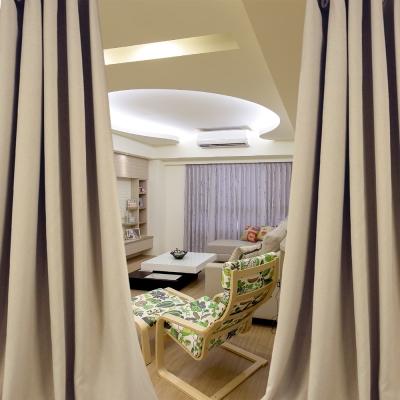 布安於室-素色咖啡穿管式單層遮光窗簾-半要窗(寬240X高180cm)