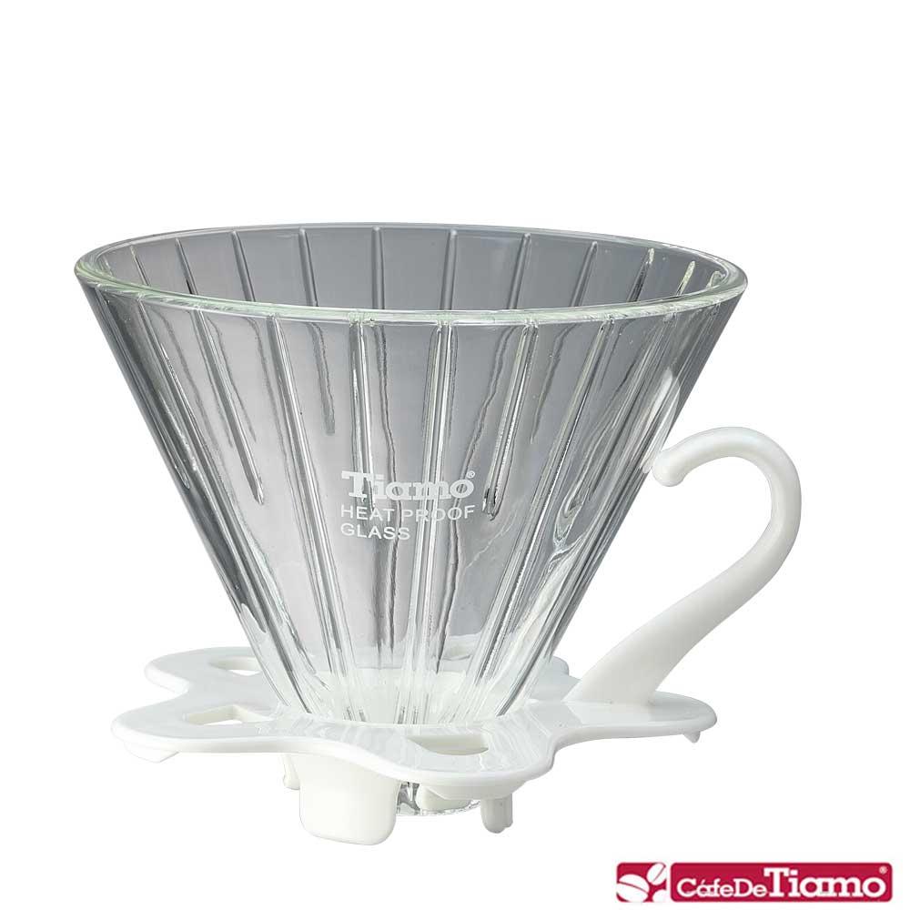 Tiamo V02玻璃咖啡濾杯組附量匙-五色