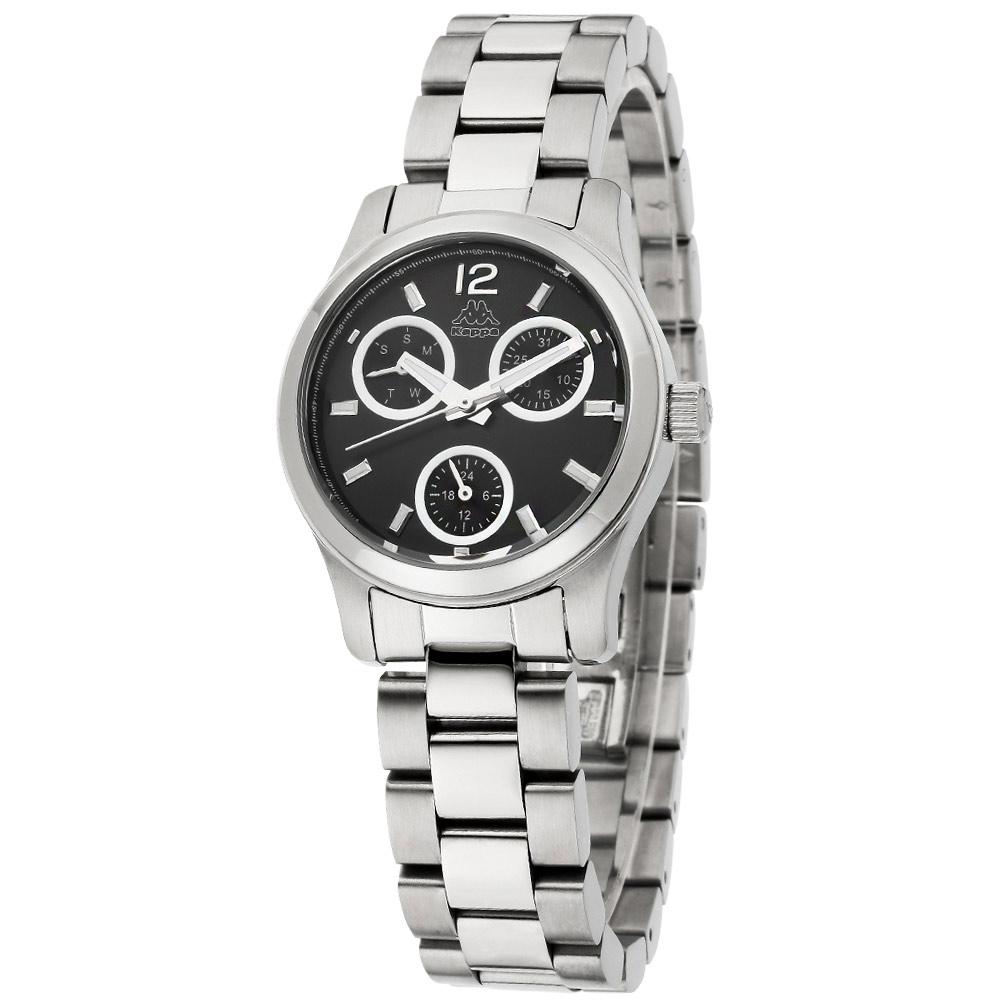 Kappa 魅力三眼不鏽鋼時尚腕錶-黑/32mm