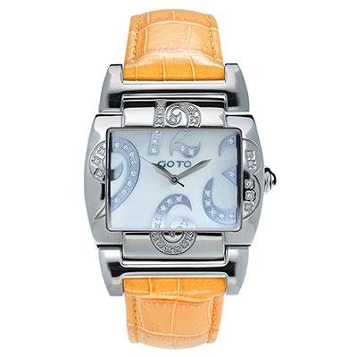 GOTO 浪漫甜心愛鑲鑽腕錶-白x桔皮/39mm