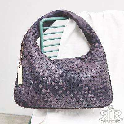 2R 頂級訂製NAPPA羊皮手工梭織彎月包 小版 薰衣紫系
