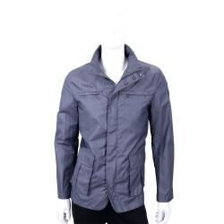 TRUSSARDI 灰藍色立領西裝剪裁防風外套