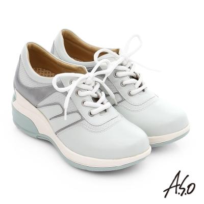 A.S.O 抗震美型 牛皮綁帶奈米楔型休閒鞋 白色