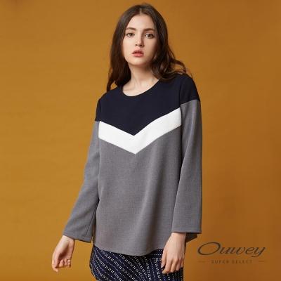 OUWEY歐薇 時尚色塊剪接上衣(藍)