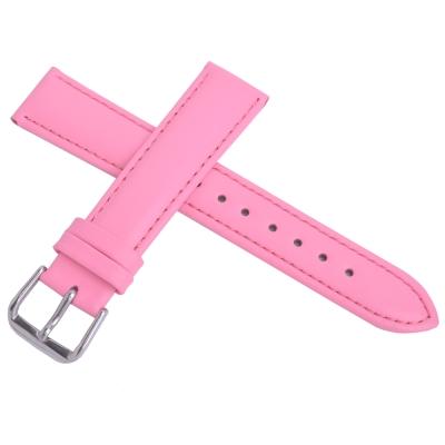 進口高級牛皮素面壓紋通用型錶帶-粉紅色