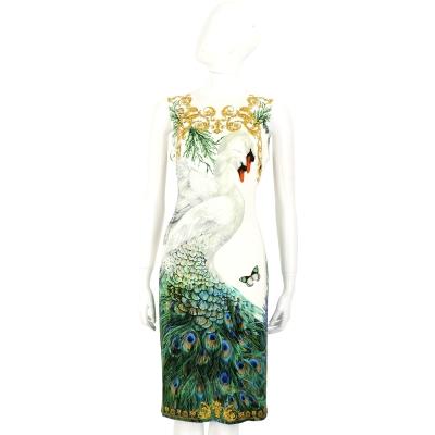 VERSACE 白色天鵝孔雀羽毛印花無袖洋裝