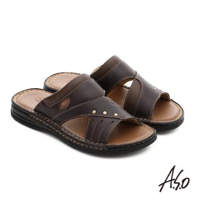 A.S.O 都會休閒 全牛皮手縫氣墊休閒涼拖鞋 咖啡色