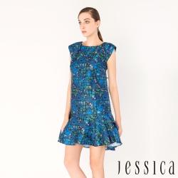 【JESSICA】派對宣言玫瑰提花洋裝(藍)