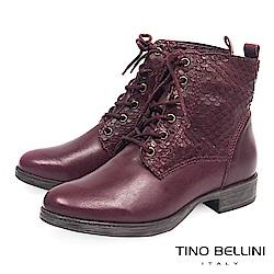 Tino Bellini巴西進口魚鱗紋皮革綁帶短靴_ 酒紅