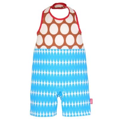 BIBPA 日本 露背式連身包屁衣 (圓棕+藍) - 純棉日本製