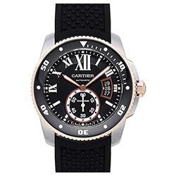 CARTIER 卡地亞Calibre 300米玫瑰金潛水機械橡膠腕表-42mm