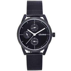 LICORNE 砌II系列簡約三眼米蘭帶女錶-黑/33mm