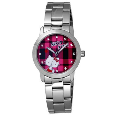 Hello Kitty 童趣格子造型腕錶-桃紅X銀/ 35 mm