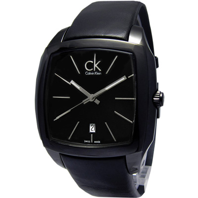 cK Recess 尊爵休閒方形時尚腕錶-黑/41mm