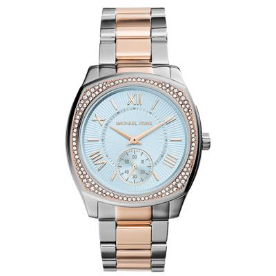 Michael Kors 奢華九零上海灘晶鑽腕錶-藍x雙色/38mm