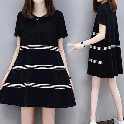 中大尺碼圓領三條黑白條紋壓線滾邊棉質洋裝XL~4L-Ballet Dolly