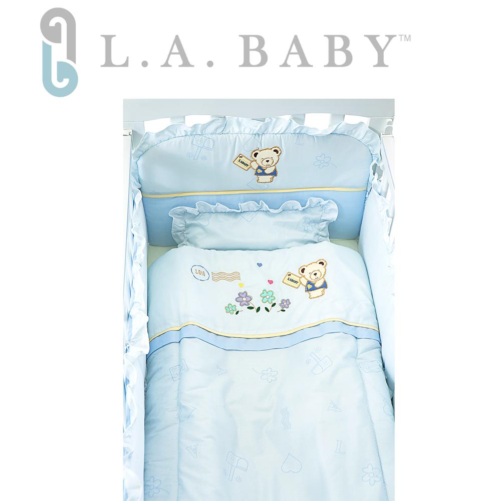 (美國 L.A. Baby ) 熊寶貝純棉五件式寢具組 S( 藍色/粉色/米色)