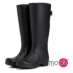 mo.oh愛雨天-素面長筒後搭扣雨靴-黑色
