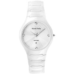 Relax Time 時尚藍寶石晶鑽陶瓷腕錶-白/36mm