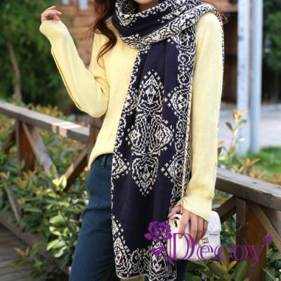 Decoy 白紋青花瓷 毛線編織圍巾 藍底