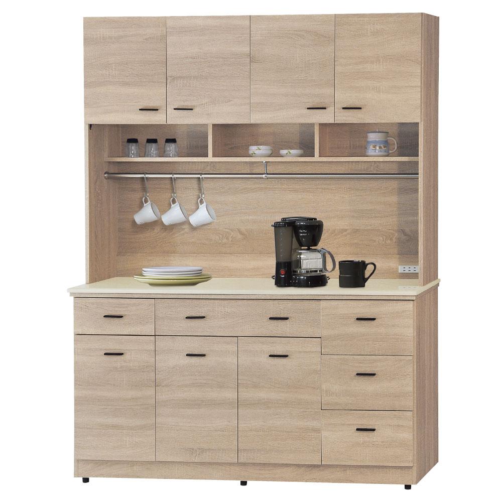 品家居 北國5尺橡木色石面餐櫃組合-151x46.5x200cm-免組