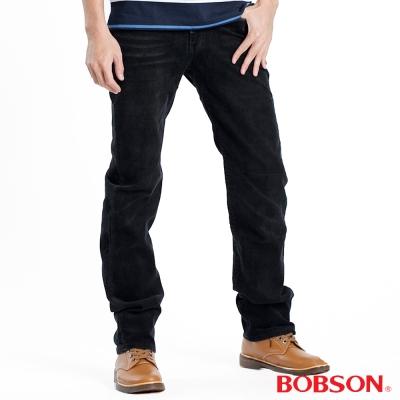 【BOBSON】男款亂針車飾燈心絨直筒褲 (黑88)