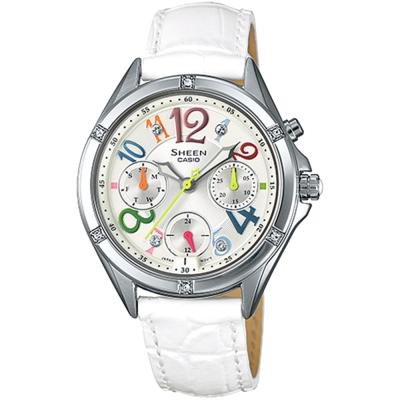 SHEEN 少女繽紛七彩霓虹皮革腕錶(SHE-3031L-7A)-白/35.4mm