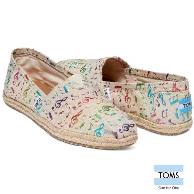 TOMS-彩色音符懶人鞋-女款-米