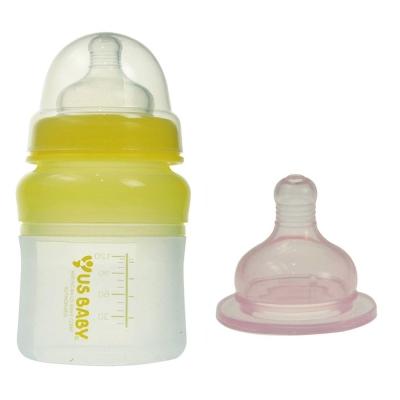優生矽晶寬口徑奶瓶120ml-S黃色(贈M奶嘴)