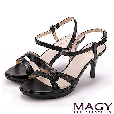 MAGY 摩登時尚 細版牛皮踝繞帶高跟涼鞋-黑色