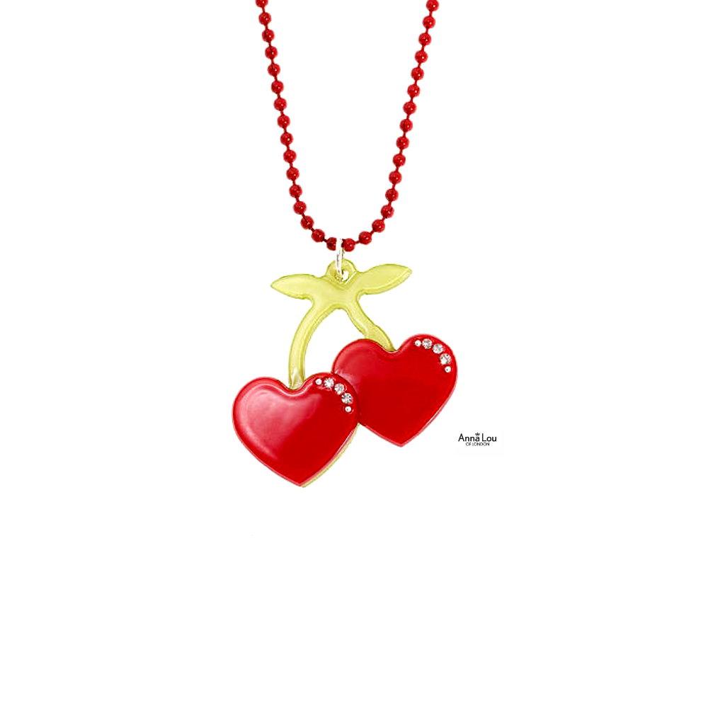 Anna Lou Of London倫敦品牌 Cherries立體小櫻桃鑲水晶項鍊