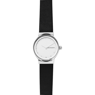Skagen Freja 晶鑽小錶徑女錶-銀x黑/25mm