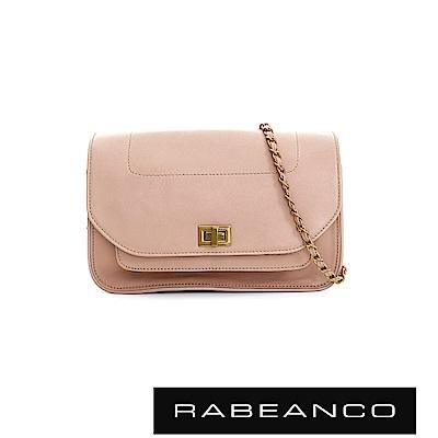 RABEANCO 迷時尚牛皮系列鍊帶雙層轉釦方包(大) - 淺粉駝