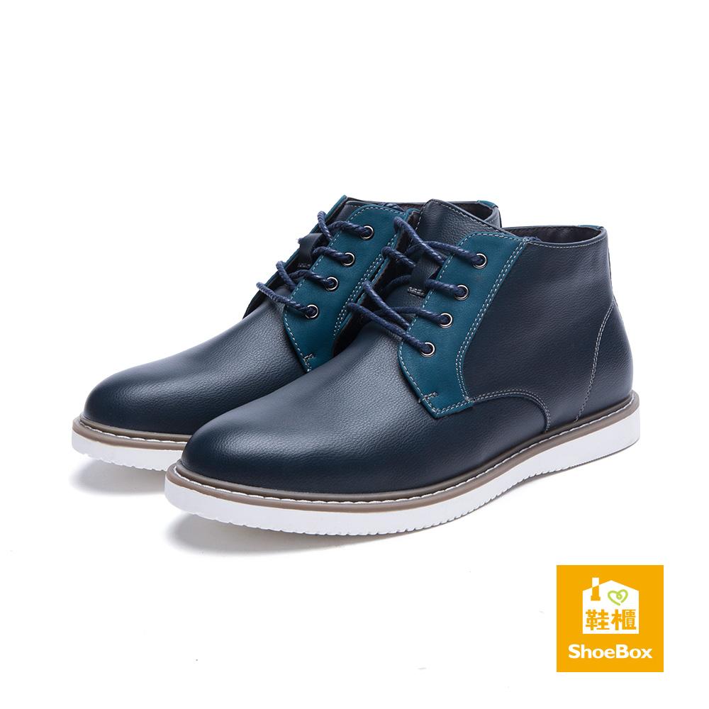 鞋櫃ShoeBox 男鞋-短靴-白底綁帶牛津短靴-藍