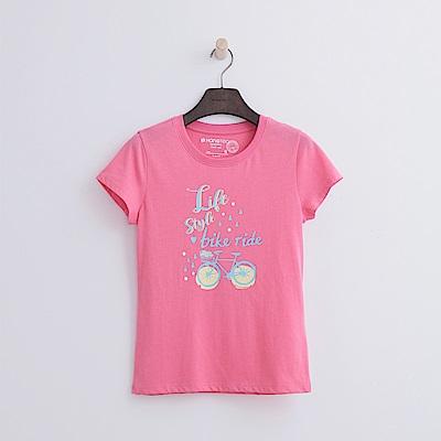 Hang Ten - 女裝 - 有機棉 單車遊記T恤-粉紅色