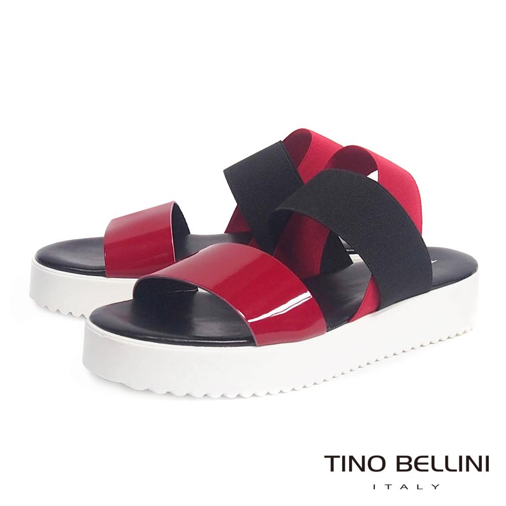 Tino Bellini 義大利進口亮彩皮革繃帶厚底涼鞋_紅+黑