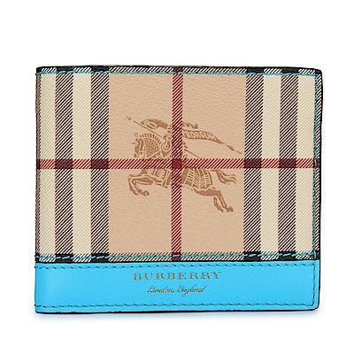 BURBERRY Haymarket 燙金LOGO戰馬經典格紋防刮皮革男用短夾-駝/亮藍