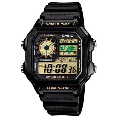 CASIO 世界地圖十年電力數位錶(AE-1200WH-1B)-45mm