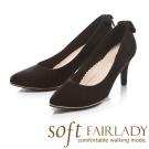 Fair Lady soft 芯太軟 浪漫蝴蝶結方鑽尖頭高跟鞋 黑