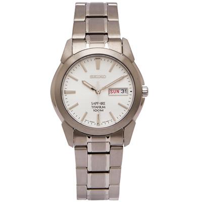 SEIKO 輕量鈦金屬手錶(SGG727P1)-銀面x銀色/36mm