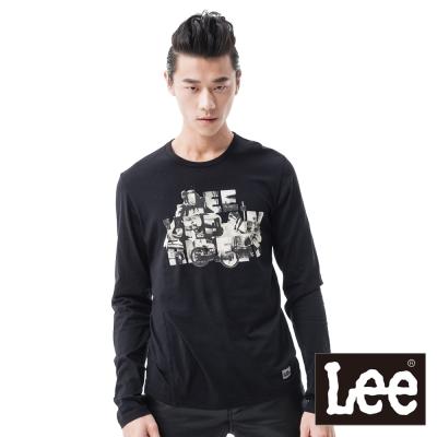 Lee-長袖T恤-復古照片印花-男款-黑-LL120096K99