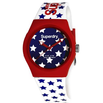 Superdry 極度乾燥 幾合潮流 矽膠 運動腕錶-白帶/藍面/37mm