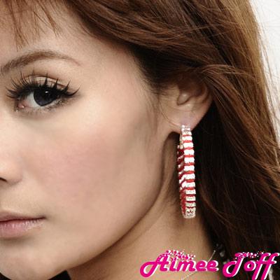 【Aimee Toff】星光舞台滿鑽圈圈耳環(紅)